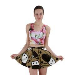 Playful abstract art - Brown Mini Skirt