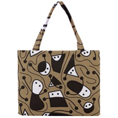 Playful abstract art - Brown Mini Tote Bag