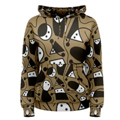 Playful abstract art - Brown Women s Pullover Hoodie