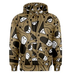 Playful abstract art - Brown Men s Zipper Hoodie
