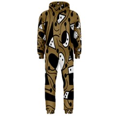 Playful abstract art - Brown Hooded Jumpsuit (Men)