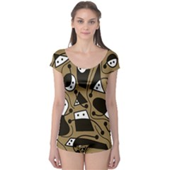 Playful abstract art - Brown Boyleg Leotard
