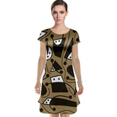 Playful abstract art - Brown Cap Sleeve Nightdress