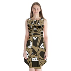 Playful Abstract Art   Brown Sleeveless Chiffon Dress