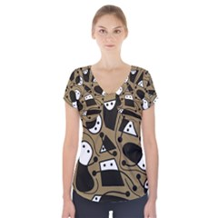 Playful abstract art - Brown Short Sleeve Front Detail Top