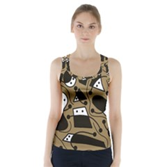 Playful Abstract Art   Brown Racer Back Sports Top