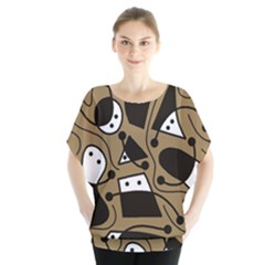 Playful Abstract Art   Brown Blouse