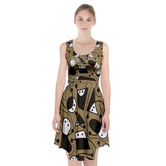 Playful Abstract Art   Brown Racerback Midi Dress
