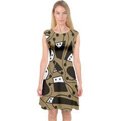 Playful Abstract Art   Brown Capsleeve Midi Dress