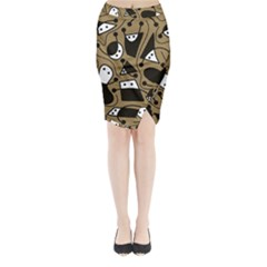 Playful abstract art - Brown Midi Wrap Pencil Skirt
