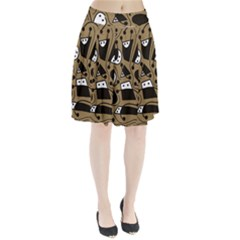 Playful abstract art - Brown Pleated Skirt