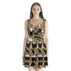 Playful abstract art - Brown Split Back Mini Dress