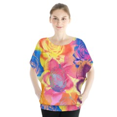 Pop Art Roses Batwing Chiffon Blouse