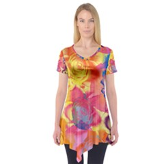 Pop Art Roses Short Sleeve Tunic