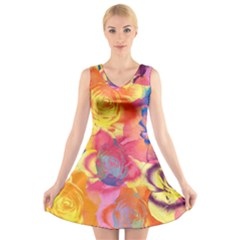 Pop Art Roses V Neck Sleeveless Dress