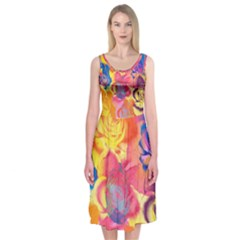 Pop Art Roses Midi Sleeveless Dress
