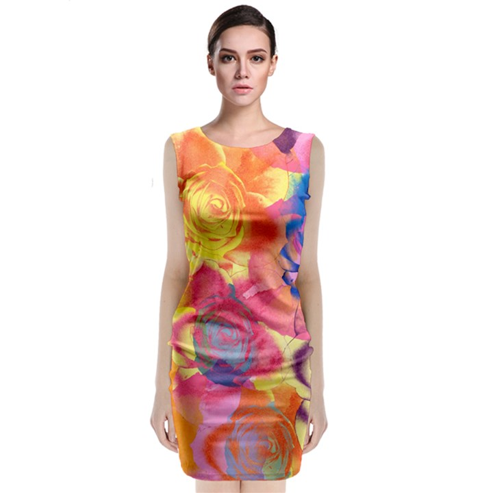 Pop Art Roses Classic Sleeveless Midi Dress