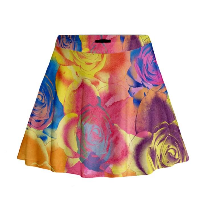 Pop Art Roses Mini Flare Skirt
