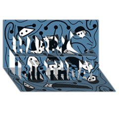 Playful abstract art - blue Happy Birthday 3D Greeting Card (8x4)