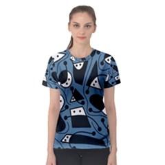 Playful abstract art - blue Women s Sport Mesh Tee