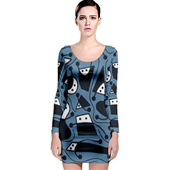 Playful abstract art - blue Long Sleeve Bodycon Dress