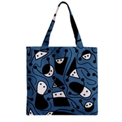 Playful abstract art - blue Zipper Grocery Tote Bag