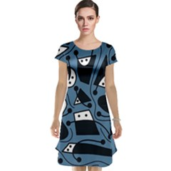 Playful abstract art - blue Cap Sleeve Nightdress