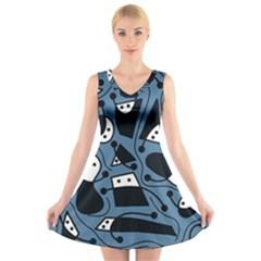 Playful abstract art - blue V-Neck Sleeveless Skater Dress