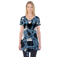 Playful abstract art - blue Short Sleeve Tunic
