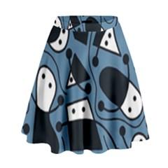 Playful abstract art - blue High Waist Skirt