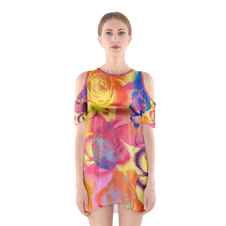 Pop Art Roses Women s Cutout Shoulder One Piece