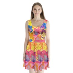Pop Art Roses Split Back Mini Dress