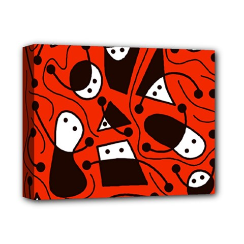 Playful abstract art - red Deluxe Canvas 14  x 11