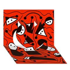 Playful abstract art - red Heart 3D Greeting Card (7x5)