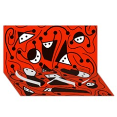 Playful abstract art - red Twin Heart Bottom 3D Greeting Card (8x4)