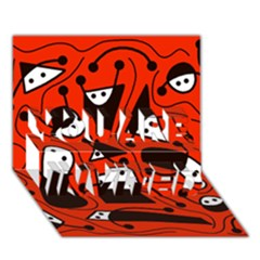 Playful abstract art - red YOU ARE INVITED 3D Greeting Card (7x5)