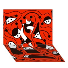 Playful Abstract Art   Red Ribbon 3d Greeting Card (7x5)