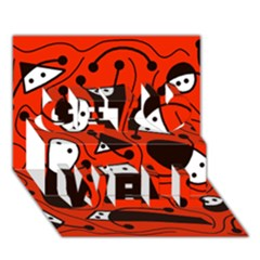 Playful abstract art - red Get Well 3D Greeting Card (7x5)