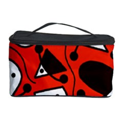 Playful abstract art - red Cosmetic Storage Case