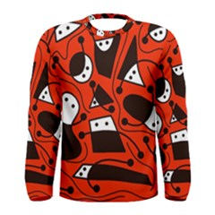 Playful abstract art - red Men s Long Sleeve Tee