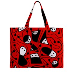 Playful abstract art - red Zipper Mini Tote Bag