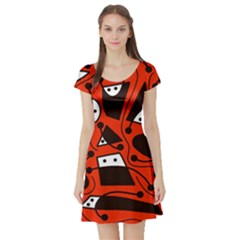 Playful abstract art - red Short Sleeve Skater Dress