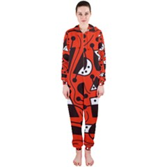 Playful abstract art - red Hooded Jumpsuit (Ladies)