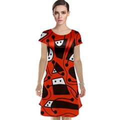 Playful abstract art - red Cap Sleeve Nightdress