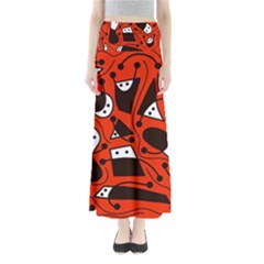 Playful Abstract Art   Red Maxi Skirts