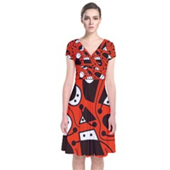 Playful abstract art - red Short Sleeve Front Wrap Dress