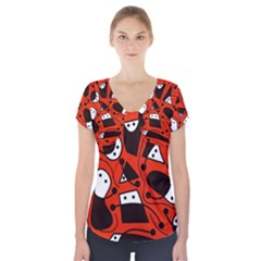 Playful Abstract Art   Red Short Sleeve Front Detail Top