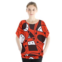 Playful abstract art - red Blouse