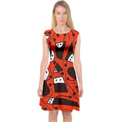 Playful Abstract Art   Red Capsleeve Midi Dress