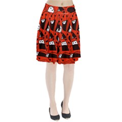 Playful abstract art - red Pleated Skirt